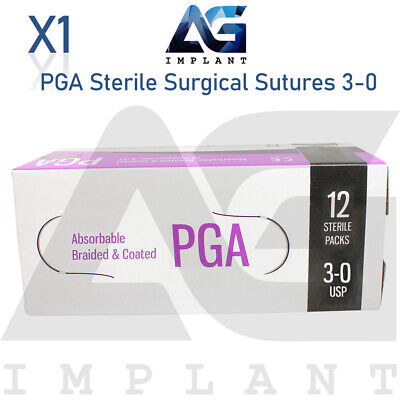 3-0 Pga Sterile Surgical Sutures Absorbable Violet Braided Medical Dental 12pcs