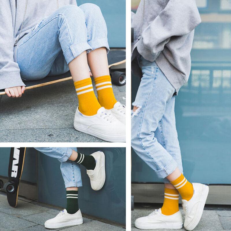 US-Loose Striped Cotton Crew Socks Japanese Funny Cute Sport