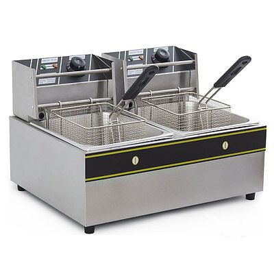 Electric Countertop Deep Fryer Dual Tank Commercial Restaurant 12liter 5000w New