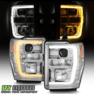 2008-2010 Ford F250 Superduty Chrome Switchback LED Tube Projector Headlights