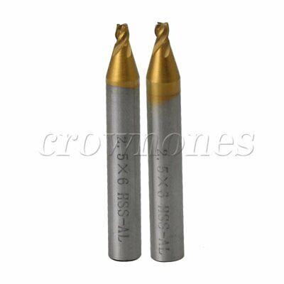 2pcs 2.5mm End Milling Cutter Drill Bits For Key Cutting Machine Tools
