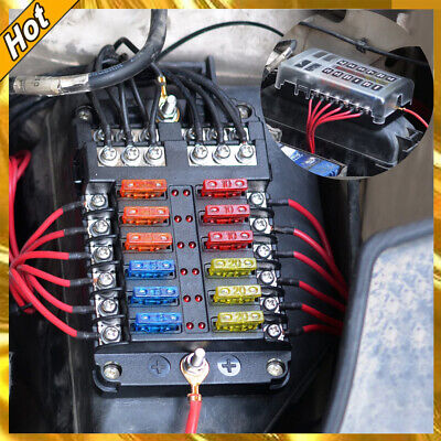Fuse Box with Negative Bus Blade Holder Block 12 Way with LED Indicator UK STOCK