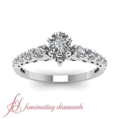 1 Ct Affordable Diamond Ring With Pear Shaped GIA Certified Center In White Gold 1