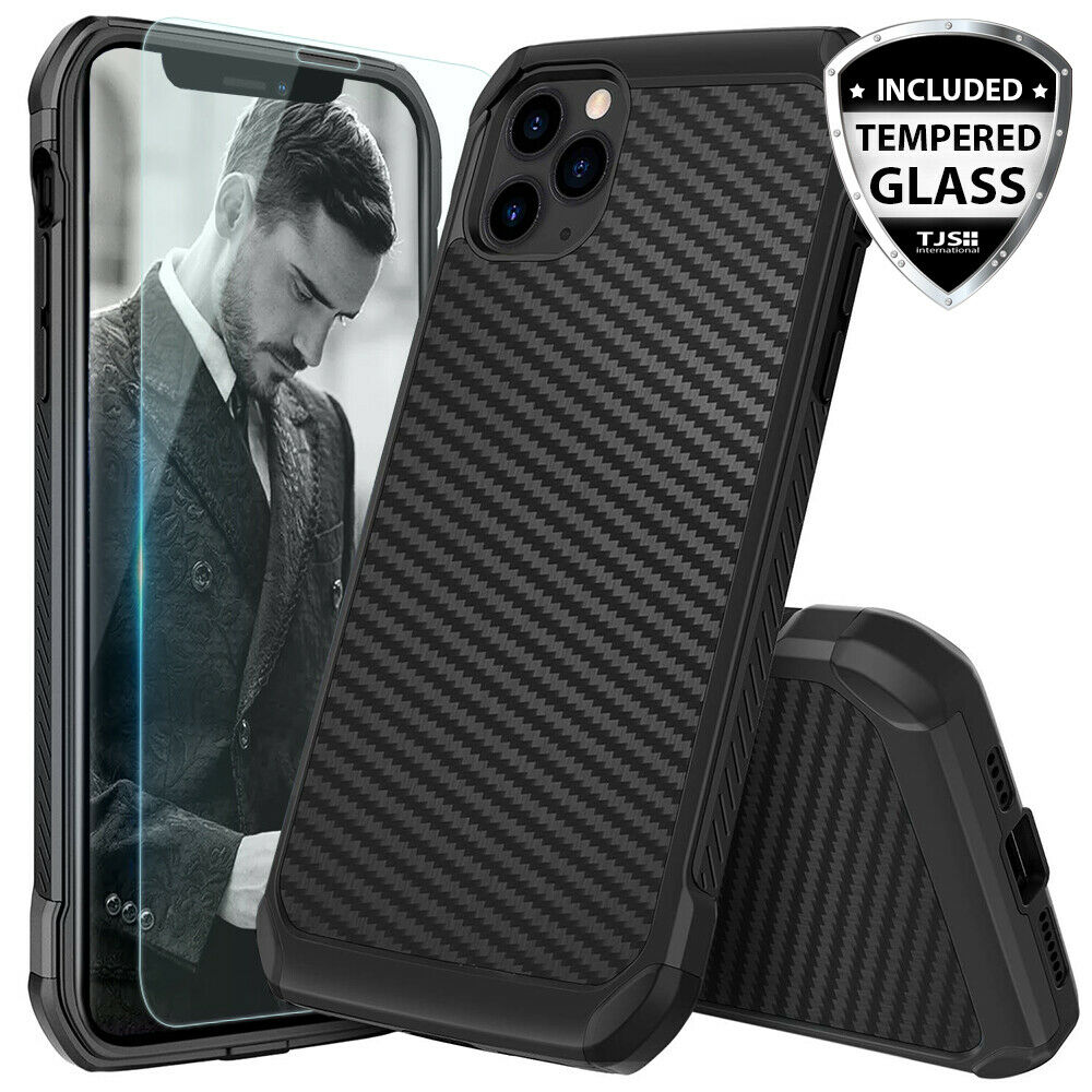 For iPhone 12 11/Pro/Max/XS/XR/X/8/7/Plus Carbon Fiber Hard Case+Tempered Glass