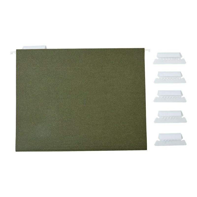 Staples Hanging File Folders 5-Tab Letter Standard Green 50/Box (266262)
