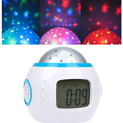 Children Room Sky Star Light Projection Lamp Bedroom Music LED Alarm Clock