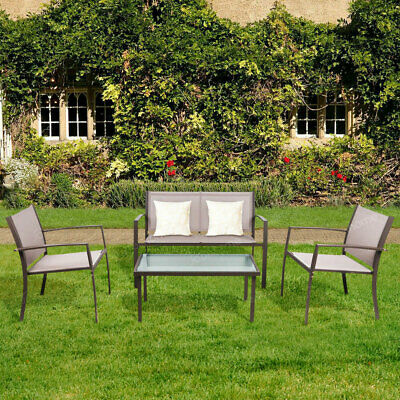 Garden Furniture Set of 4 Pieces Table & Chairs Set Outdoor Patio Corridor Brown