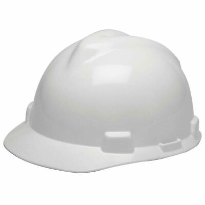 MSA 475358 V-Gard Slotted Hard Hat, Cap Style, with 4-point Fas-Trac III White