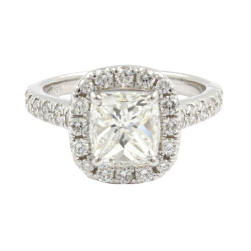 GIA 18k White Gold 5.06 Carat Cushion & Round Cut Diamond Engagement Ring
