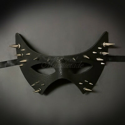 SPIKE Black Leather Masquerade Mask for Men M33183