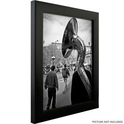 "Craig Frames 16x24 Poster Frame, 1"" Modern Satin Black w/ Clear Cover & Backing"