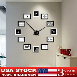 NEW PICTURE WALL CLOCK 12 PHOTO MODERN FRAME HOME FAMILY DECOR US STOCK SALE