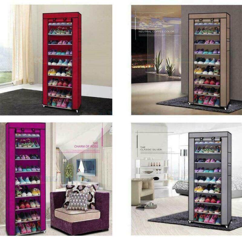 10-Layer 9 Grid Shoe Rack Shelves Storage Closet Organizer Cabinet Multi Colors