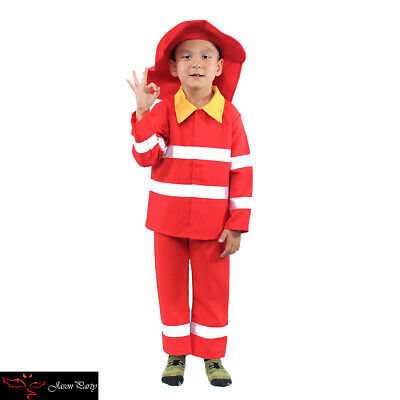 Boys Fire Fighter Fireman Kids Fancy Dress Childrens Costume Career Role Play - Boy Fireman Costume