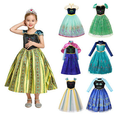 Dress For Kid Girl (Kids Anna Princess Dress Up For Girls Embroidered Cosplay Costume Party)