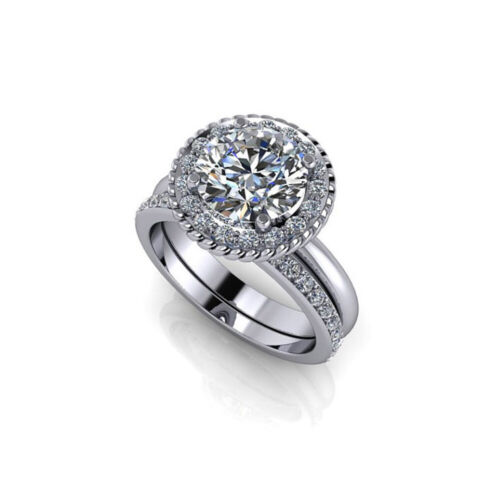Round Cut Diamond Wedding Special Ring Solid White Gold 2.50 Ct
