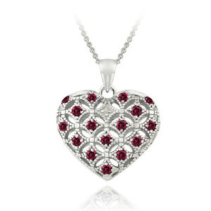 925 Silver Ruby & Diamond Heart Locket Necklace