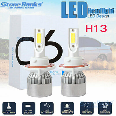 H13 9008 COB LED 100W 20000LM Headlight Conversion Kit HL Beam Bulbs 6000K