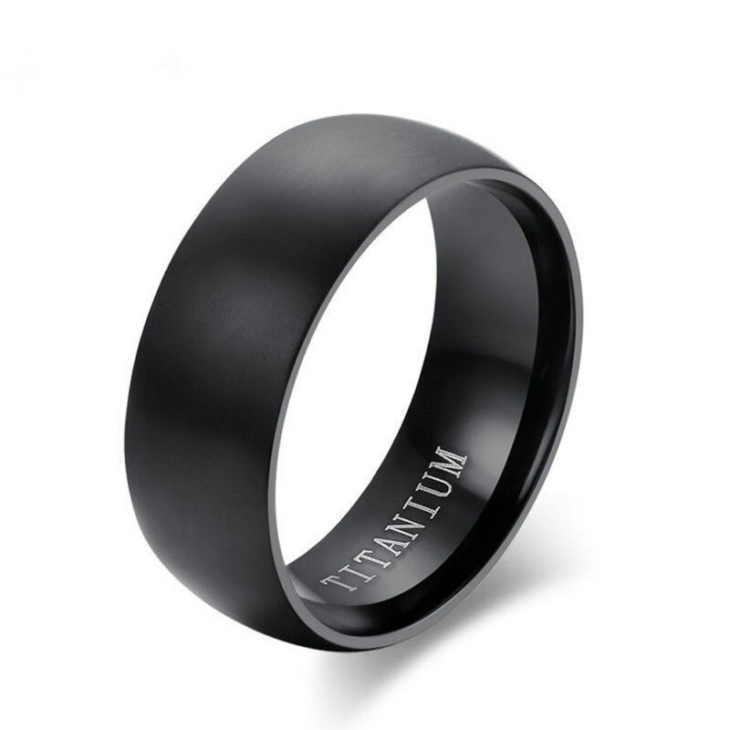 Men's Black Titanium Steel Ring 8MM Wedding Engagement Anniv