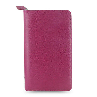 Filofax Compact Zip Pennybridge Organiser Diary Book Raspberry Leather 028036