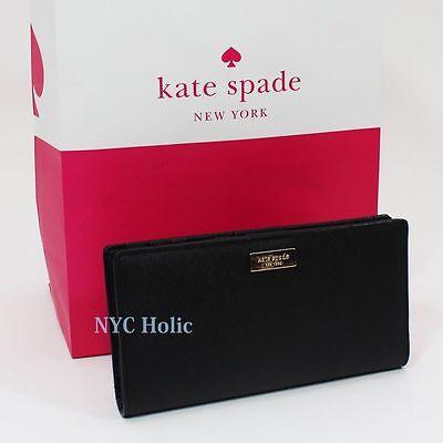 NEW Kate Spade Newbury Lane Stacy Clutch Wallet Black Saffiano WLRU1601