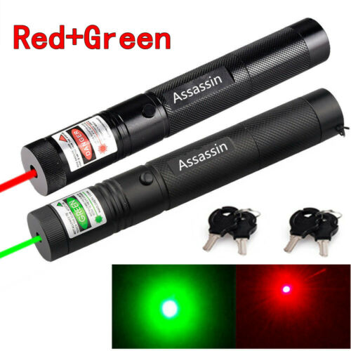 2PCS 500Miles Assassin 650nm Red+532nm Green Laser Pointer A