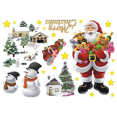 Removable Wall Stickers The Santa Claus Merry Christmas Art Decals Mural DI A7N1