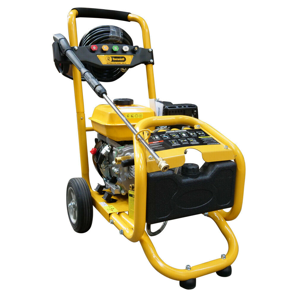 Petrol Pressure Power Washer RocwooD 3000 PSI 8HP 4 Stroke High Jet Washer