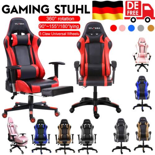Gaming Stuhl,Schreibtischstuhl, Bürostuhl, Racing Chair Chefsessel mit Fußstütze