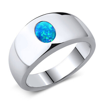 1.05 Ct Oval Cabochon Blue Simulated Opal 925 Sterling Silver Men's Ring - Oval Cabochon Gemstone Ring