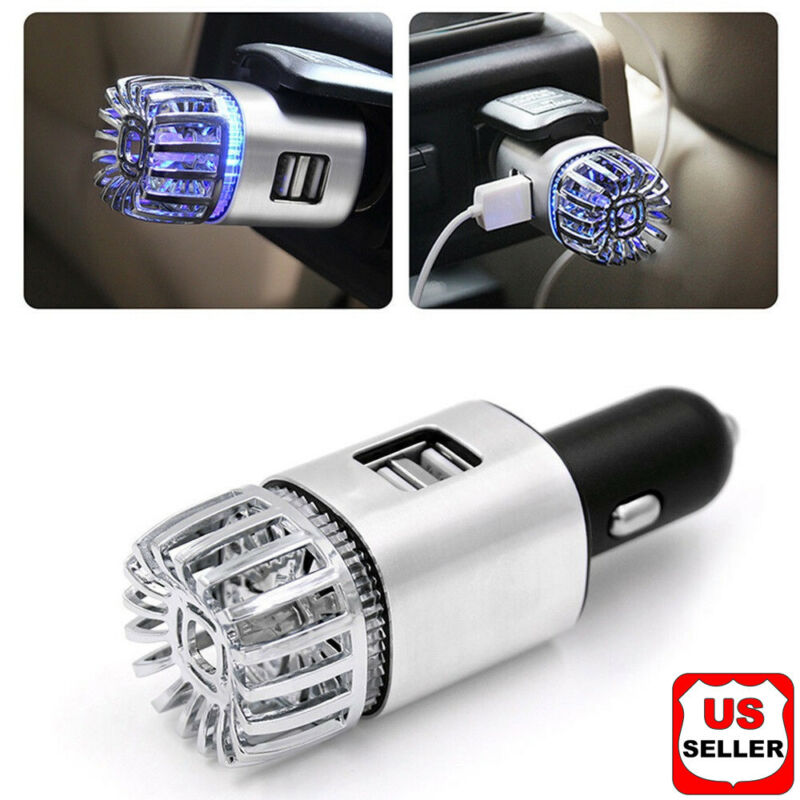 2 in 1 Car Dual USB Fresh Air Ionic Purifier Oxygen Bar Ozone Ionizer Cleaner N1