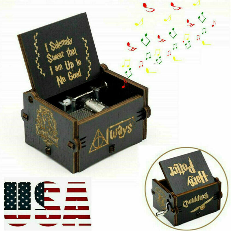 """""""Harry Potter"""" Wooden Music Box HandCranked Black Classic Handmade Gifts Kid Toy"""