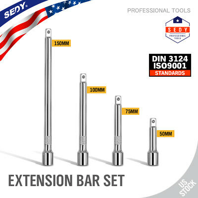 4pc 14 Long Socket Extension Bar Set Shaft 2 3 4 6 Socket Ratchet Improved