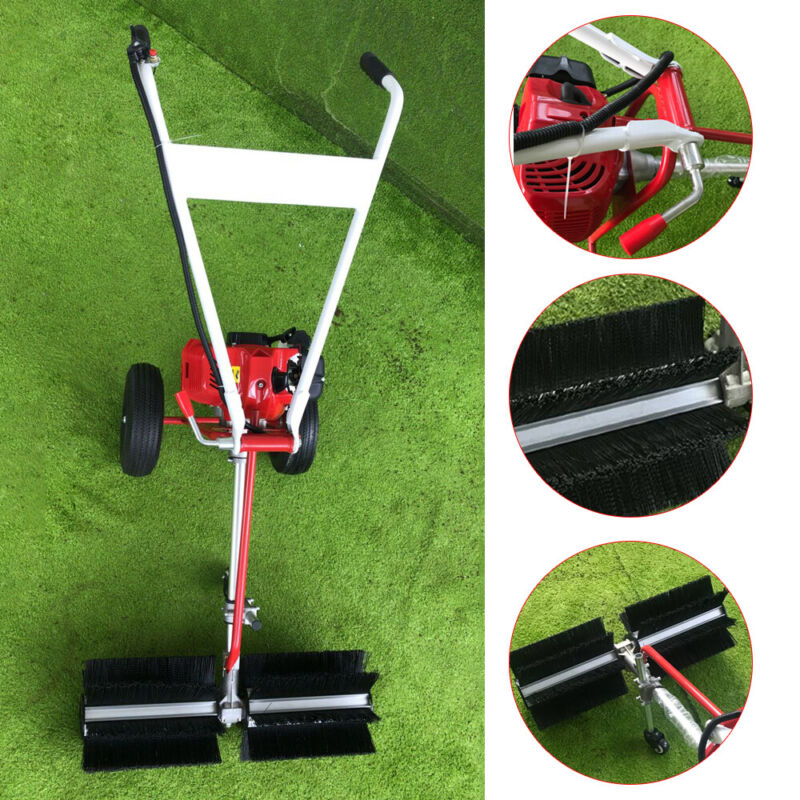 43cc 1.7hp Gas Power Sweeper Hand Held Broom Cleaning Driveway Turf Grass USA