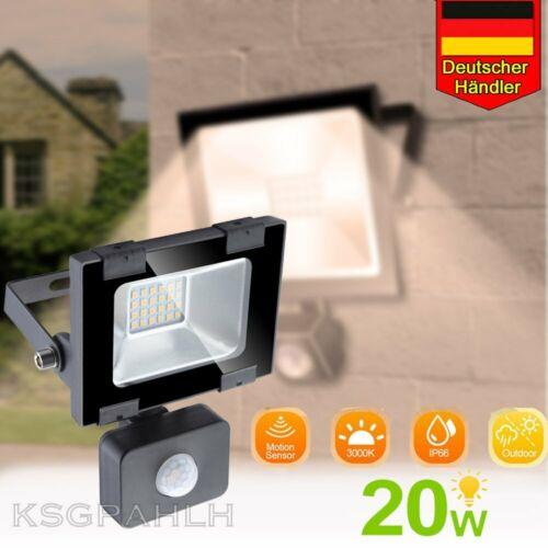 LED Außenstrahler Bewegungsmelder 20W Flut Licht Wand