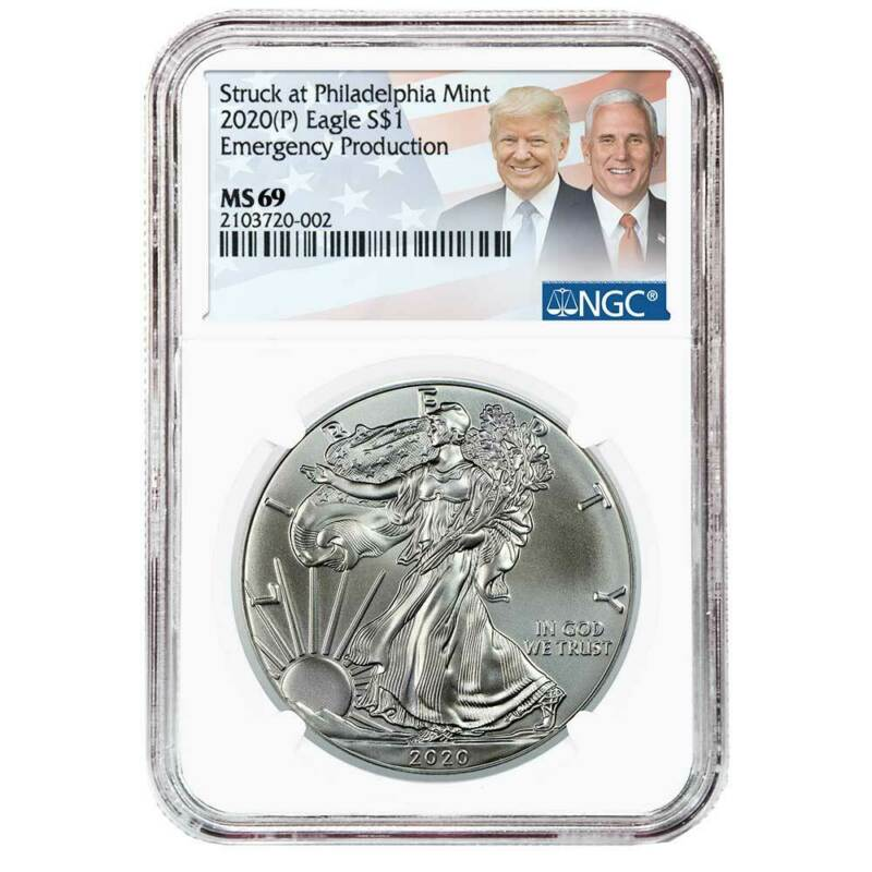 2020 (P) $1 American Silver Eagle NGC MS69 Emergency Production Trump/Pence Labe