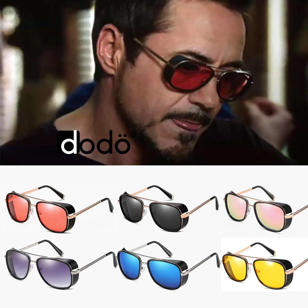 Tony Stark Iron Man Retro Vintage Steampunk Square Metal Sunglasses Goggles