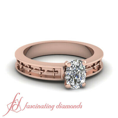 .85 Ct Cushion Cut Diamond Vintage 14K Rose Gold Engagement Rings GIA Certified