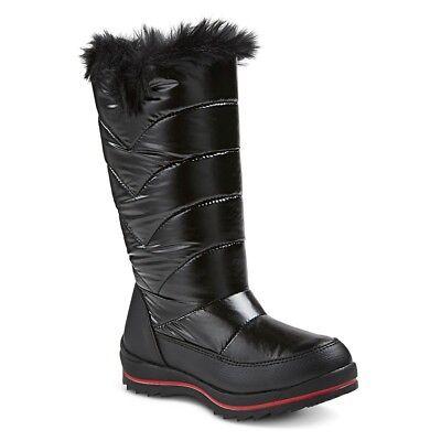 Cat & Jack Girls' Nicole Zipper Black Winter Snow Boots, Size 13,1,2,3,4,5      -