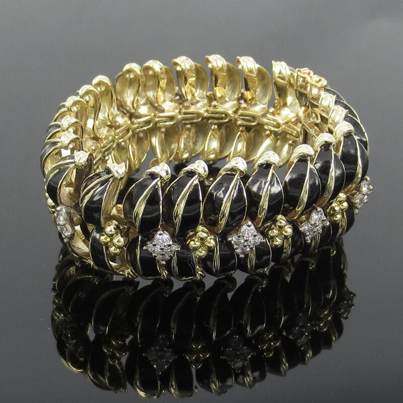 1960's 3.0ct Diamond & Black Enamel 14k Yellow Gold Large Link Dome Bracelet