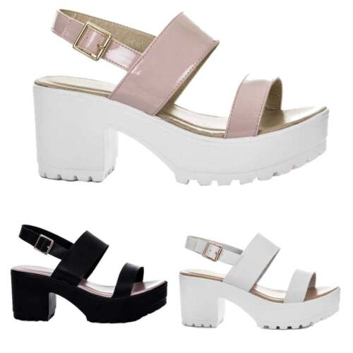 4b52556bed Ladies Girls Cleated Low Sole Block Heel Sandals Shoes Black Nude White New  Size
