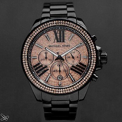 Michael Kors MK5879 Damenuhr Chronograph Farbe Schwarz Rosé Kristall Besatz