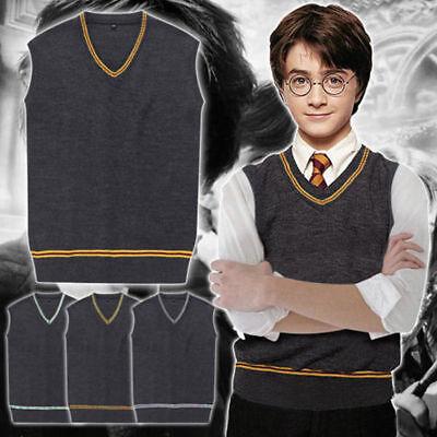 Harry Potter V-Ausschnitt Pullover Kostüm Weste Hogwarts Schule Uniform Sweater*