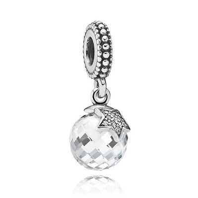 Authentic Pandora Charm Clear Moon & Star Dangle 791392CZ  slide Bead