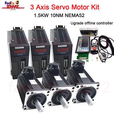 3axis 1.5kw 10nm Servo Motor Nema52 Driver Cnc Offline Controller Handwheel