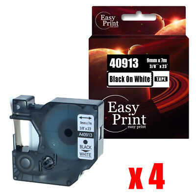 4pk Black On White Label 40913 Compatible Dymo D1 Tape 9mm X 7m Rhino