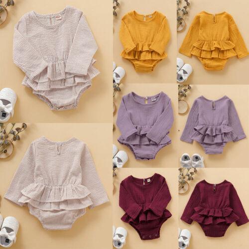 6Colors Newborn Infant Baby Girl Romper Dress Jumpsuit Bodys