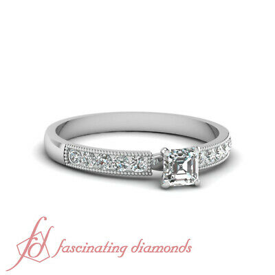 .65 Ct Asscher Cut D-Color Diamond Milgrain Lace Engagement Ring Channel Set GIA