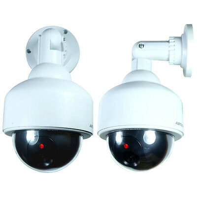 2X Fake Dummy Outdoor Waterproof Security Surveillance LED Flash Dome Camera