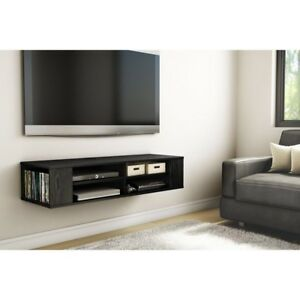 Black Floating Media Shelf